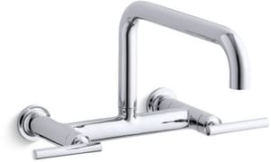 KOHLER Purist® Two Handle Bridge Kitchen Faucet in Polished Chrome K7549-4-CP