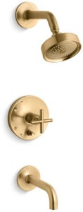 Kohler Purist® Single Handle Single Function Bathtub & Shower Faucet in Vibrant® Moderne Brushed Gold (Trim Only) KT14421-3-BGD