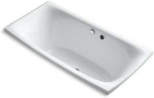 KOHLER Escale® 72 x 35-5/8 in. Total Massage Drop-In Bathtub with Center Drain in White K11343-G-0