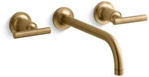 Kohler Purist® Two Handle Widespread Bathroom Sink Faucet in Vibrant Moderne Brushed Gold KT14414-4-BGD