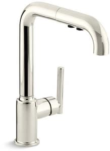 KOHLER Purist® Single Handle Pull Out Kitchen Faucet in Vibrant® Polished Nickel K7505-SN