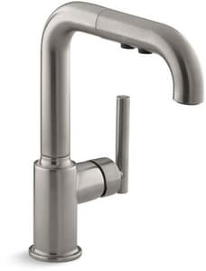 KOHLER Purist® Single Handle Pull Out Kitchen Faucet in Vibrant® Stainless K7506-VS