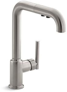 KOHLER Purist® Single Handle Pull Out Kitchen Faucet with Three-Function Spray in Vibrant® Stainless K7505-VS