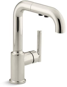 KOHLER Purist® Single Handle Pull Out Kitchen Faucet in Vibrant® Polished Nickel K7506-SN