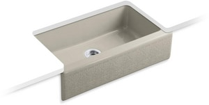 Kohler Alencon Lace™ 4-Hole Single Bowl Cast Iron Undercounter Kitchen Sink  Sandbar K14579-KG-G9