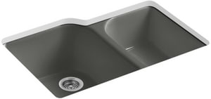 KOHLER Executive Chef™ 33 x 22 in. 4 Hole Cast Iron Double Bowl Undermount Kitchen Sink in Thunder™ Grey K5931-4U-58