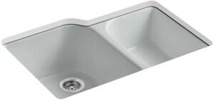 KOHLER Executive Chef™ 33 x 22 in. 4 Hole Cast Iron Double Bowl Undermount Kitchen Sink in Ice™ Grey K5931-4U-95