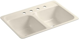 Kohler Delafield® 4-Hole Cast Iron Kitchen Sink  Almond K5950-4-47