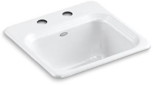 KOHLER Northland™ 15 x 15 in. 2 Hole Drop-in Cast Iron Bar Sink in White K6579-2-0