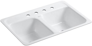Kohler Delafield® 32 x 21 in. 4-Hole Cast Iron Kitchen Sink White K5950-4-0