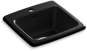 KOHLER Gimlet™ 15-1/4 x 15-1/4 in. 1 Hole Drop-in Acrylic Bar Sink in Black Black K6015-1-7