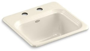Northland™ 2 Hole Top Mount Single Bowl Bar Sink in Almond K6579-2-47
