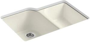 KOHLER Executive Chef™ 33 x 22 in. 4 Hole Cast Iron Double Bowl Undermount Kitchen Sink in Biscuit K5931-4U-96