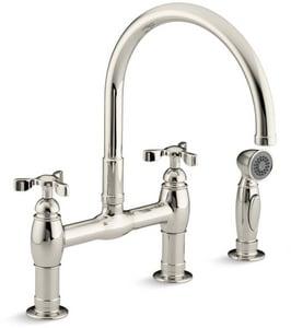 Kohler Parq® Two Handle Bridge Kitchen Faucet in Vibrant Polished Nickel K6131-3-SN