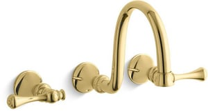 Kohler Revival® 3-Hole Wall Mount Lavatory Faucet with Double Lever Handle in Vibrant Polished Brass KT16106-4A-PB