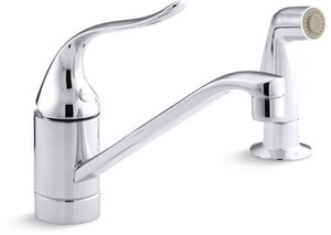 Kohler Coralais® 2-Hole Kitchen Faucet with Single Lever Handle and Sidespray and 5 in. Spout Height in Polished Chrome KP15176-P-CP