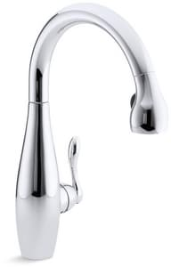 Kohler Clairette® 3-Hole Pull-Out Kitchen Sink Faucet with Single Lever Handle in Polished Chrome K692-CP