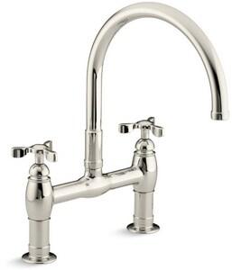 Kohler Parq® Two Handle Bridge Kitchen Faucet in Vibrant Polished Nickel K6130-3-SN