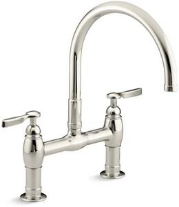 Kohler Parq® Two Handle Bridge Kitchen Faucet in Vibrant Polished Nickel K6130-4-SN