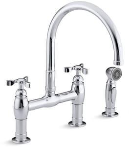 Kohler Parq® Two Handle Bridge Kitchen Faucet in Polished Chrome K61313