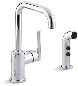 Kohler Purist® 1.8 gpm Single Lever Handle Bar Faucet Swing Spout with Spray in Polished Chrome K7511-CP