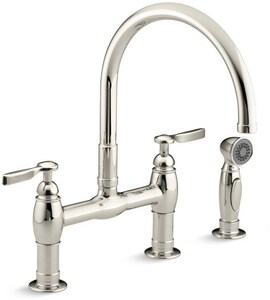 Kohler Parq® Two Handle Bridge Kitchen Faucet in Vibrant Polished Nickel K6131-4-SN