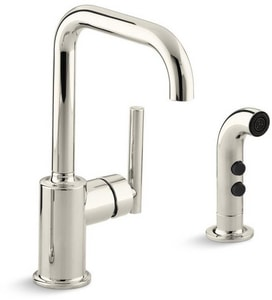 Kohler Purist® 1.8 gpm Single Lever Handle Bar Faucet Swing Spout with Spray in Vibrant Polished Nickel K7511-SN