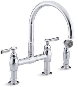 Kohler Parq® Two Handle Bridge Kitchen Faucet in Polished Chrome K61314