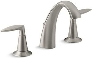 KOHLER Alteo® Two Handle Widespread Bathroom Sink Faucet in Vibrant Brushed Nickel K45102-4-BN