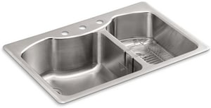 Kohler Octave™ 33 x 22 in. Top Mount Large/Medium Double Bowl Stainless Steel Kitchen Sink 3 Hole K3844-3-NA