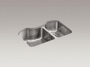Kohler Octave® 32 x 20-1/4 in. Undermount Large/Medium Double Bowl Kitchen Sink No Hole K3845-NA