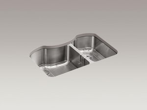 Kohler Octave® 32 x 20-1/4 in. Stainless Steel Double Bowl Undermount Kitchen Sink K3845-NA