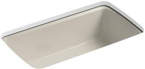 KOHLER Cape Dory® 33 x 22 in. 5 Hole Cast Iron Single Bowl Undermount Kitchen Sink in Sandbar K5864-5U-G9