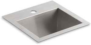 KOHLER Vault™ 15 x 15 in. 1 Hole Drop-in and Undermount Stainless Steel Bar Sink K3840-1-NA