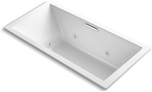 Kohler Underscore® 72 x 36 in. Whirlpool Drop-In Bathtub with Center Drain in White K1835-XH2G-0