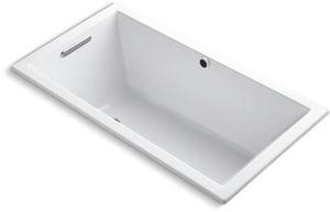 Kohler Underscore® 21 x 60 x 32 in. 81 gal Drop-In Undermount Bathtub with End Drain in White K1130-W1-0