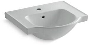 Kohler Veer™ 1-Hole Vitreous China Lavatory Sink Basin in Ice Grey K5247-1-95