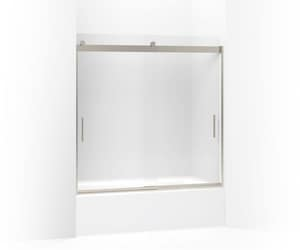 Kohler Levity® 59-3/4 in. Frameless Frosted Tempered Glass Sliding Shower Door in Matte Nickel K706001-D3-MX
