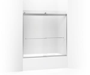 KOHLER Levity® 59-3/4 x 57 in. Sliding Bath Door with Frosted Glass and Towel Bar in Bright Silver K706005-D3-SH