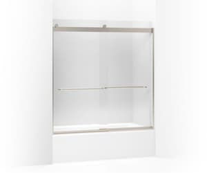 Kohler Levity® 62 x 59-5/8 in. Frameless Sliding Bath Door with Crystal Clear Glass and Towel Bar in Matte Nickel K706004-L-MX