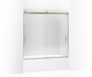 KOHLER Levity® 62 x 59-5/8 in. Frameless Sliding Bath Door with Crystal Clear Glass and Blade Handle in Anodized Brushed Bronze K706000-L-ABV