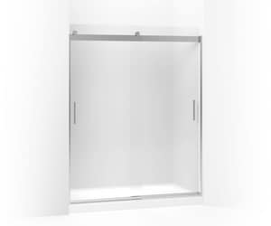 KOHLER Levity® 74 x 60-1/4 x 59-5/8 in. Frameless Sliding Shower Door with Frosted Glass and Blade Handle in Bright Silver K706009-D3-SH