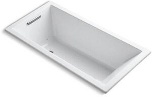 Kohler Underscore® 60 x 30 in. Acrylic Drop-In Rectangular Air Bathtub with End Drain in White K1167-GVB-0