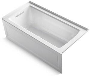 Kohler Archer® 60 x 30 in. Air Bath Alcove Bathtub Left Drain in White K1947-GLA-0