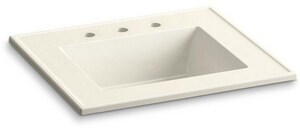 KOHLER Ceramic/Impressions® 25 in x 22-3/8 in Single Bowl Vitreous China Vanity Top in Biscuit Impressions K2777-8-G83
