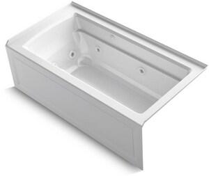 Kohler Archer® 60 x 32 in. Whirlpool Drop-In Bathtub with Right Drain in White K1122-XHGRA-0