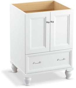 KOHLER Damask® 34-1/2 x 24-3/4 in. Bathroom Vanity Cabinet with Furniture Legs in Linen White K99514-LG-1WA