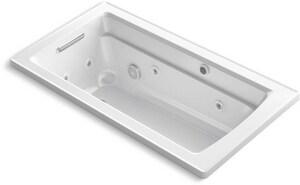 Kohler Archer® 60 x 32 in. Whirlpool Drop-In Bathtub with Reversible Drain in White K1122-XHG
