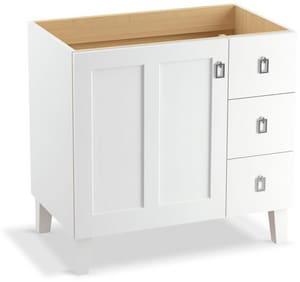 KOHLER Poplin® Marabou® 34-1/2 x 36 in. Bathroom Vanity Cabinet with Legs in Linen White K99533-LGR-1WA