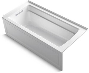 Kohler Archer® 66 x 32 in. Air Bath Alcove Bathtub Left Drain in White K1949-GLA-0